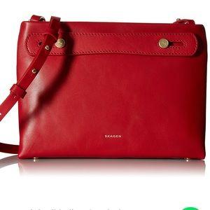 Skagen Red Leather Mini Mikkeline Satcel Crossbody